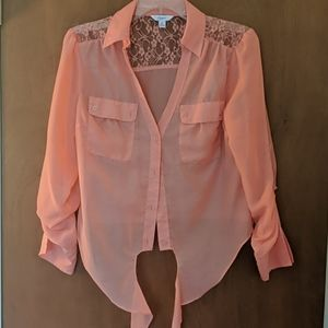 Candies sheer peach colored blouse,See full outfit